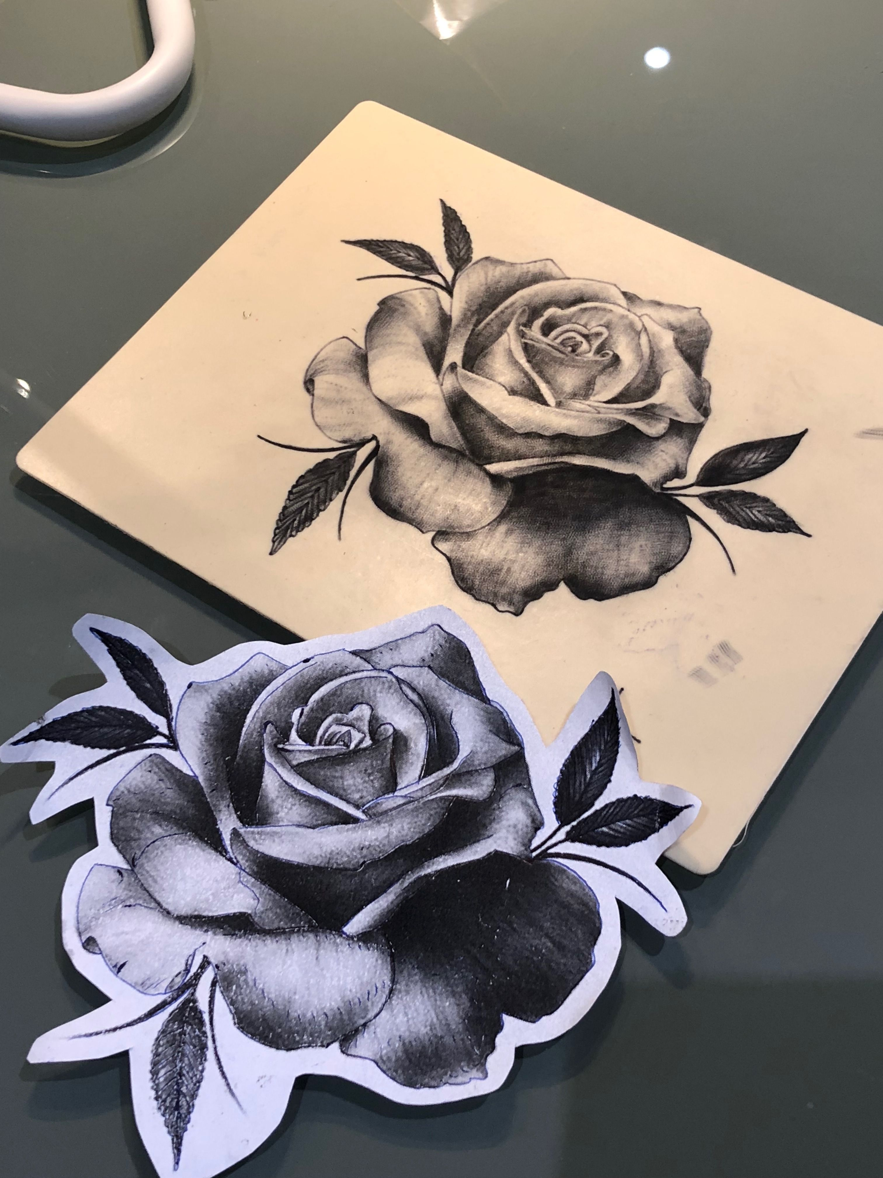 black and grey realistic rose tattoo on fake skin by lilly tattoo ...