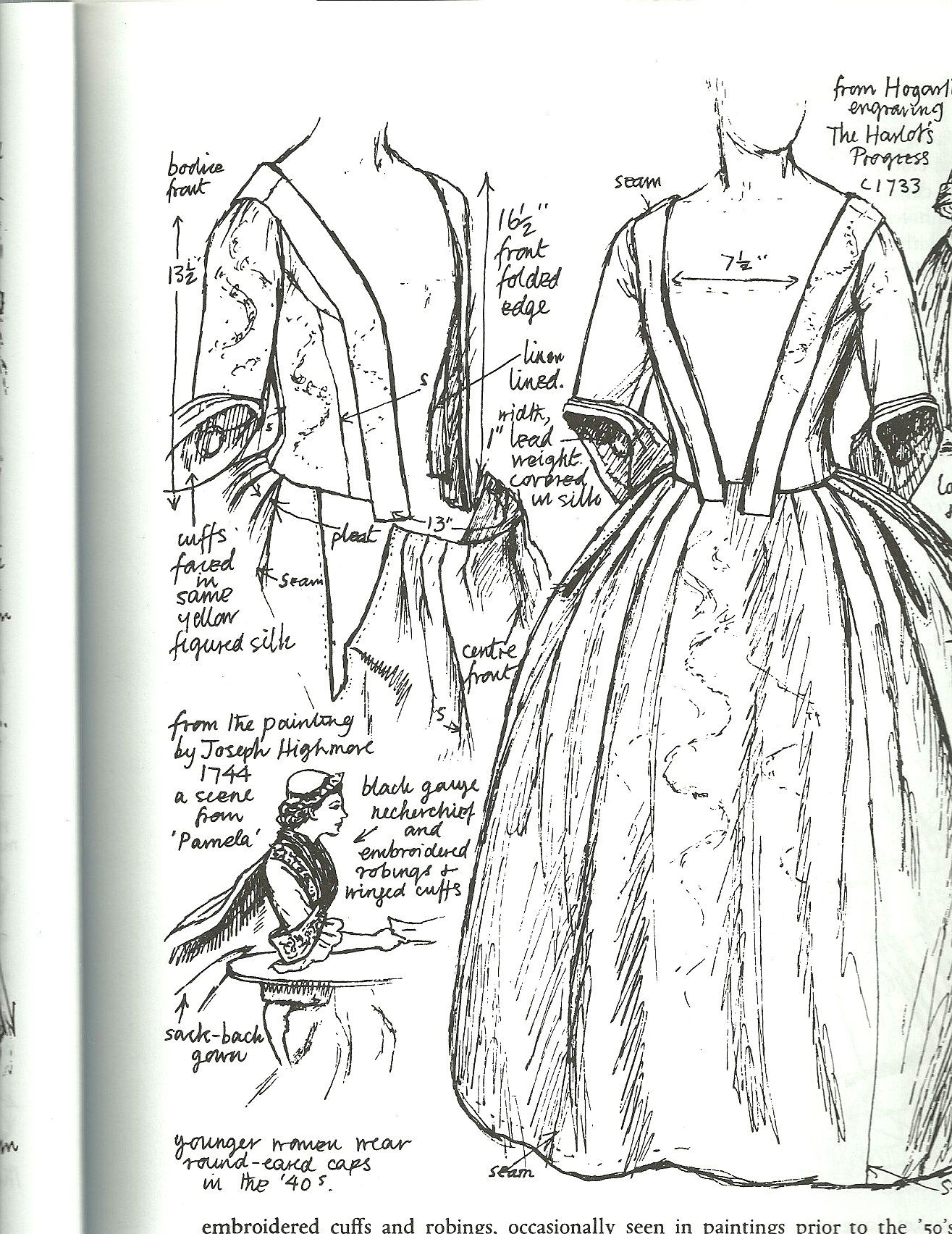 Closed Gown Front View British Robe A La Anglaise