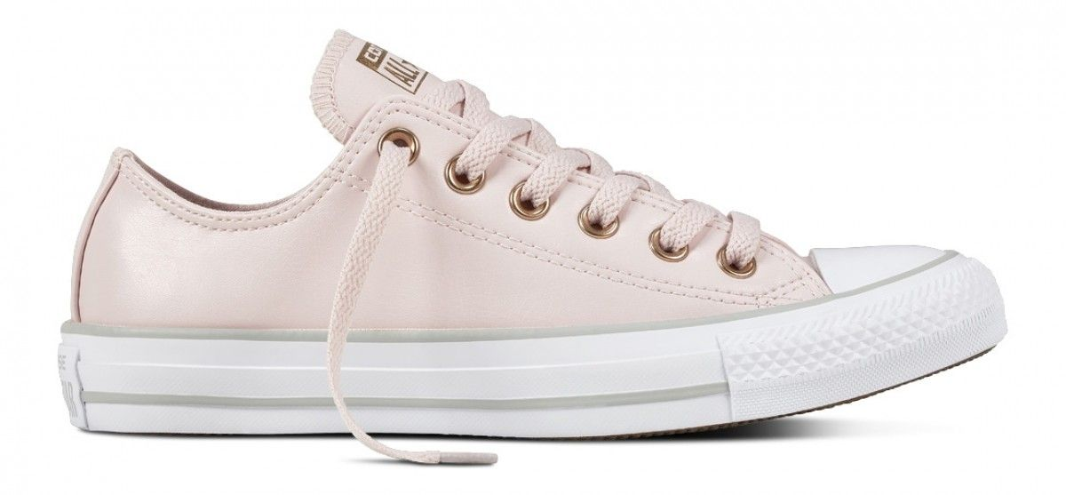 84a9ede8aeaa CONVERSE CHUCK TAYLOR ALL STAR WOMENS LEATHER LOW TOP BARELY ROSE  WHITE MOUSE