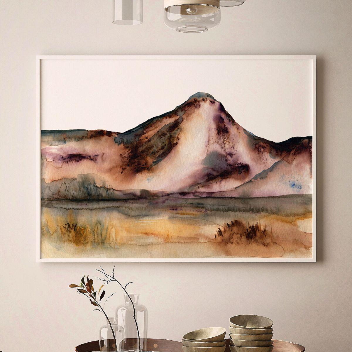 Watercolor Painting #desert #mountains #watercolorarts #etsy #hgtvmagazine #mintedartist