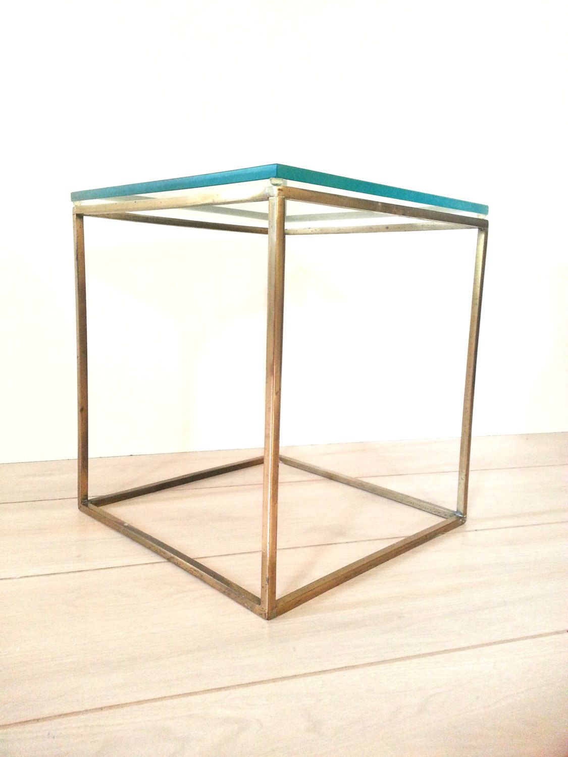 Mid Century Plant Stand Mid Century Brass Glass Cube Table Side Table End Table