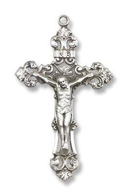 Sterling silver crucifix pendant medal 1 78 inch necklaces sterling silver crucifix pendant medal 1 78 inch aloadofball Image collections