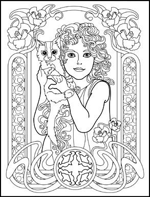 Art Nouveau Animals and Flowers Adult Coloring Book by Juliana ...