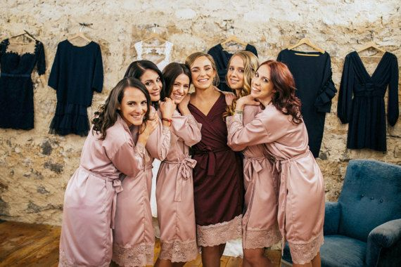 Blush Pink Robes Lace Robes Satin Robe Bridesmaids robe  f66ec02c0