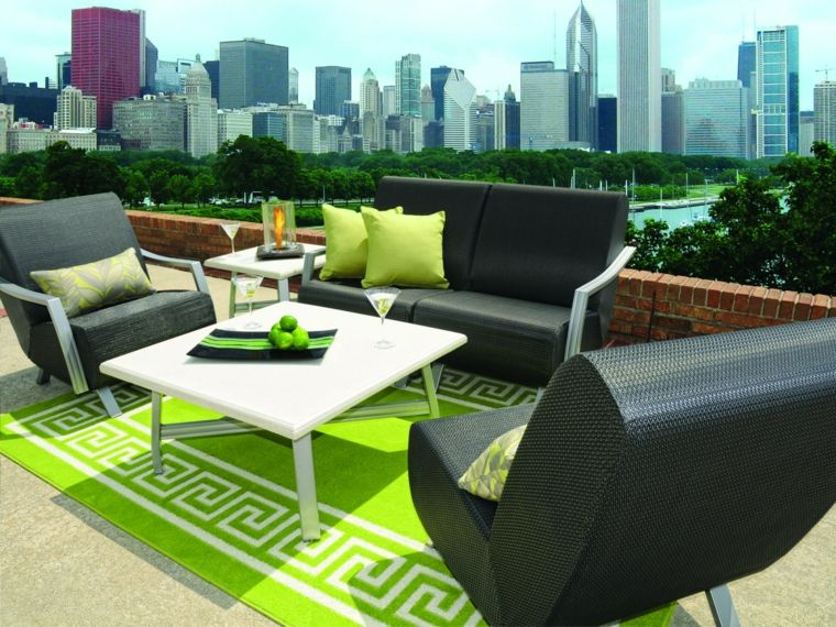 cojines verdes para sillones de mimbre Terraza Pinterest