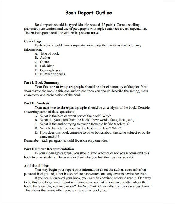 Report Outline Template Free Word Format Book Summary Example