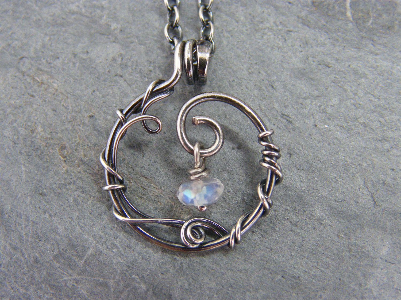 Photo of Moonstone necklace ~ Moonstone pendant ~ Blue moonstone ~ Sterling silver moonstone necklace ~ Moonstone jewellery ~ Blue moonstone gift