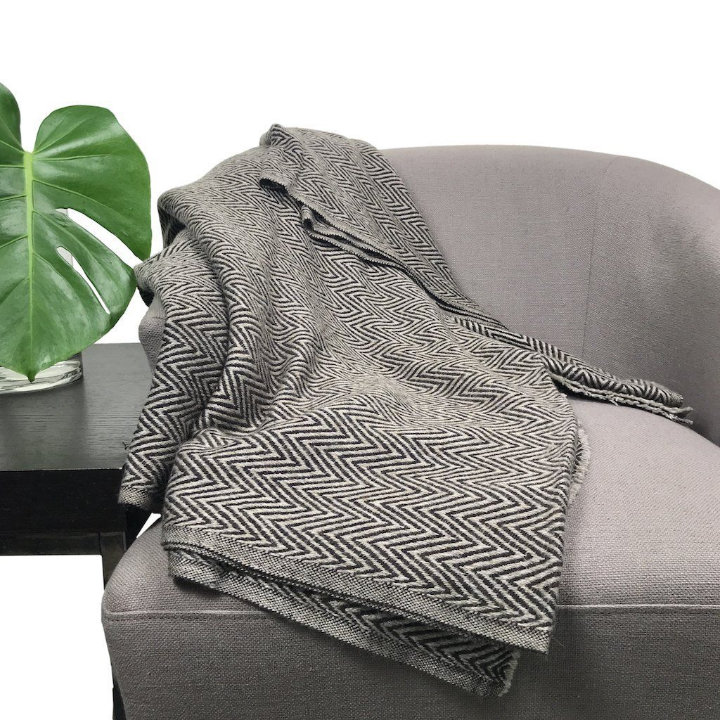 Chevron Cashmere Throw Cashmere throw blanket and Slate