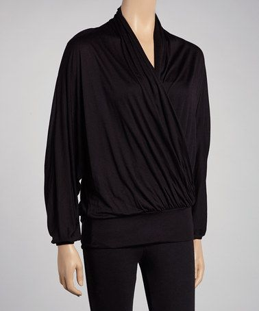 Take a look at this Black Dolman Surplice Top by Urban X on #zulily today!