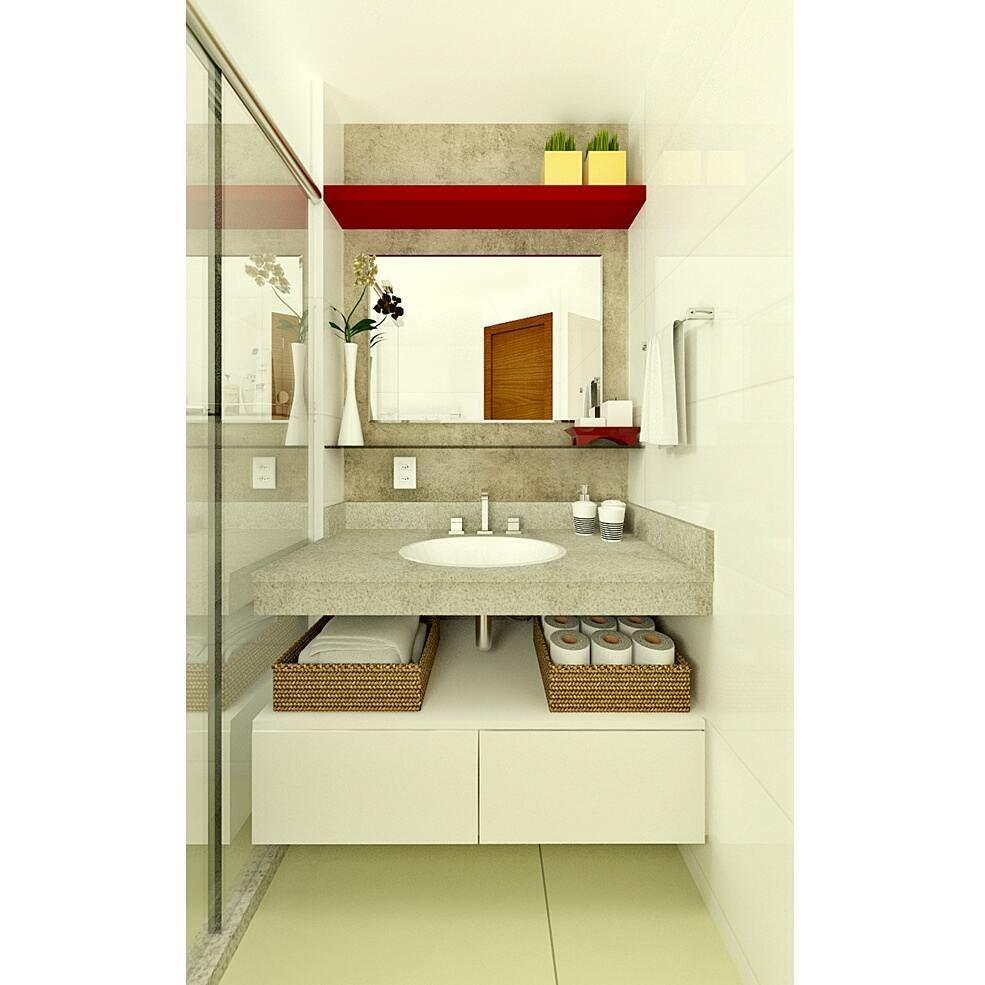 Para Dar Uma Cara Nova Ao Banheiro Padrao Entregue Pela Construtora Aplicamos Uma Textura Concreto No Revestimento Ceramic Bathroom Vanity Vanity Single Vanity