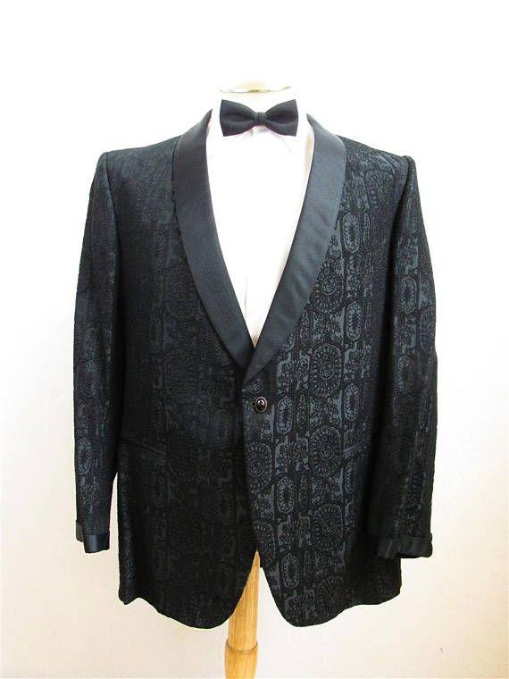 lovely design popular brand deft design 1960's Black Brocade Formal Tuxedo/ Dinner Jacket With Black ...
