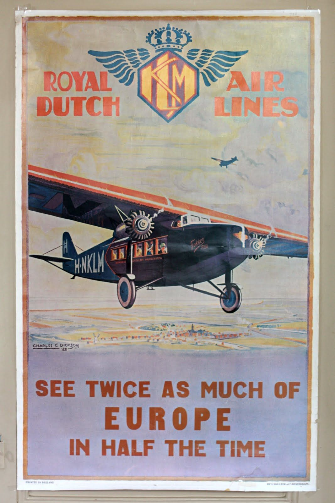 Vintage Travel Poster - Europe - (KLM = Royal Dutch Airlines).