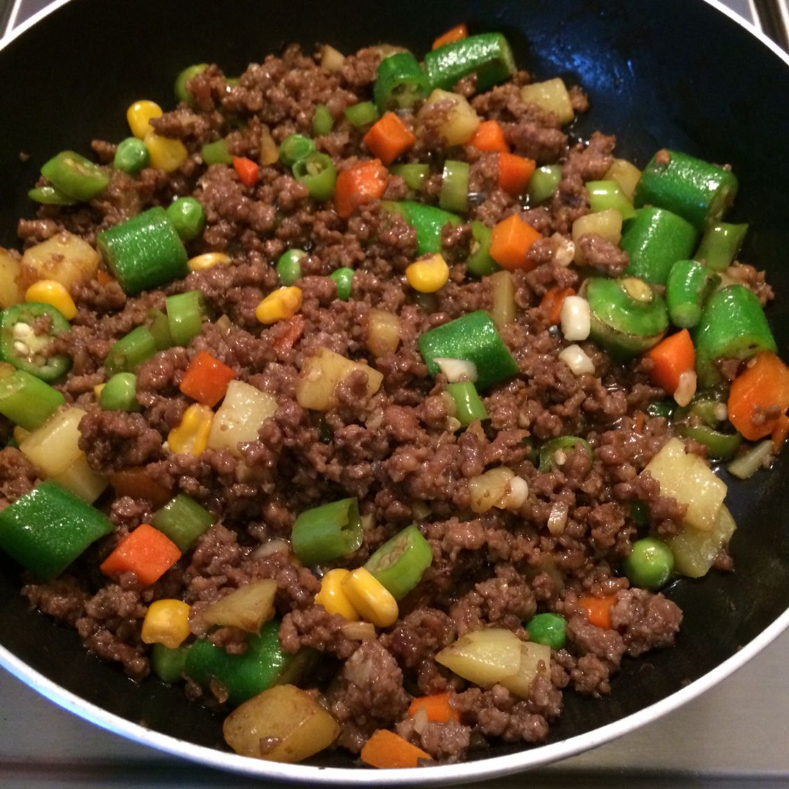Chinese-style ground beef on Christmas Eve.