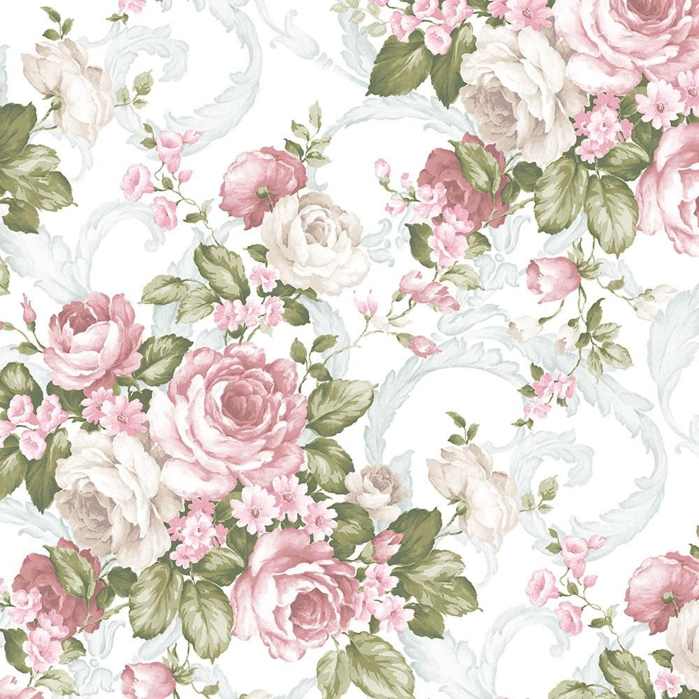 Norwall Grand Floral Wallpaper Dark Pink Light Pink Green