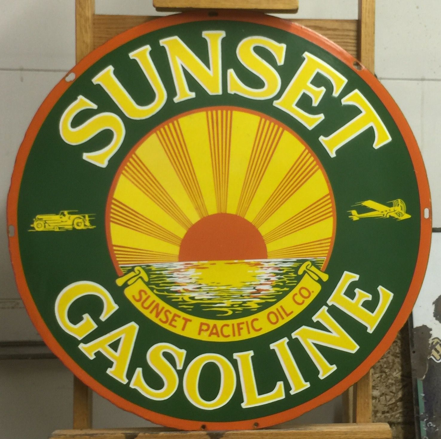 FREE shipping any 8 signs Supertest  Gas Oil gasoline sign round .