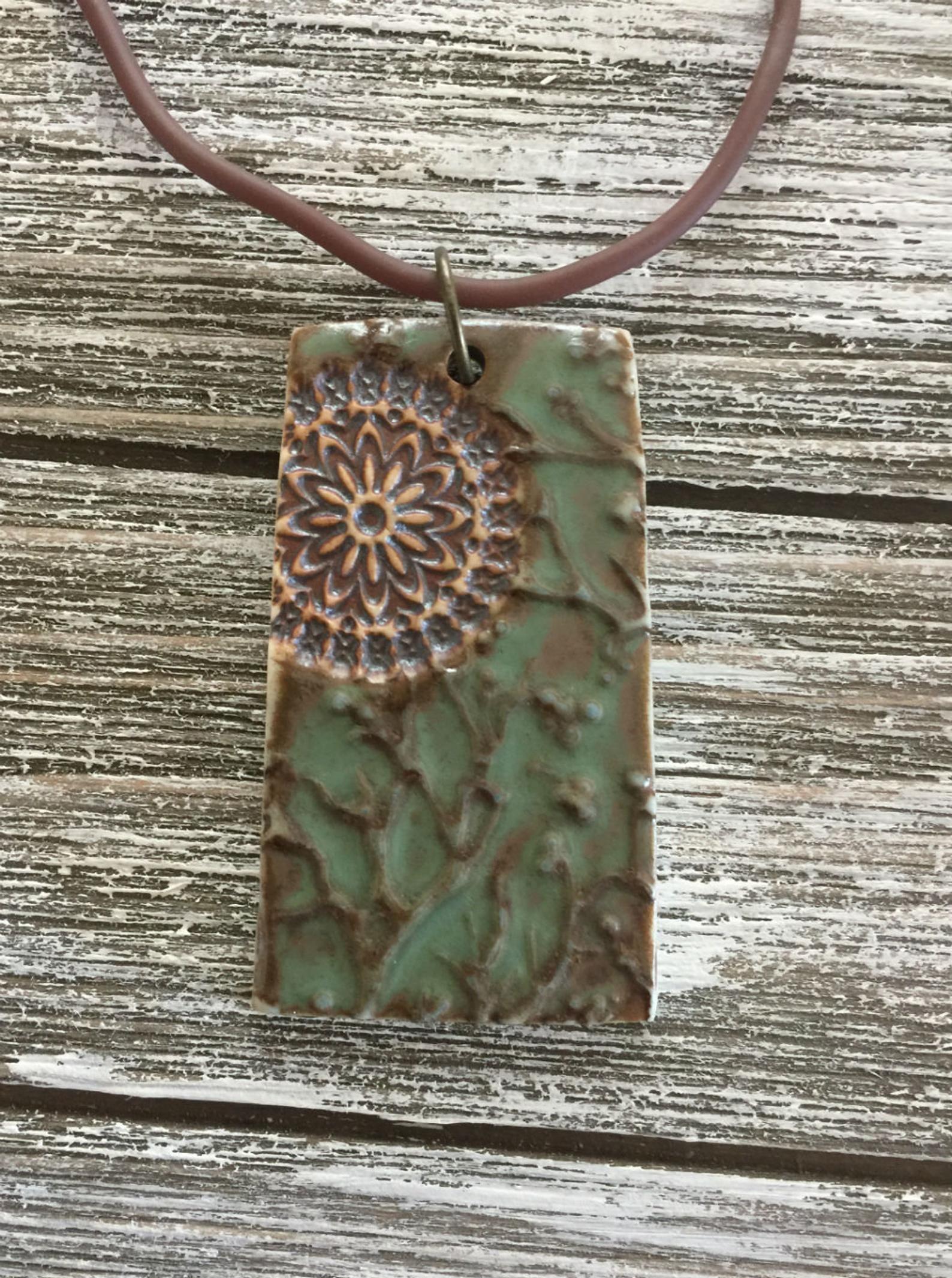 Medallion Craftsman Green Porcelain Pendant