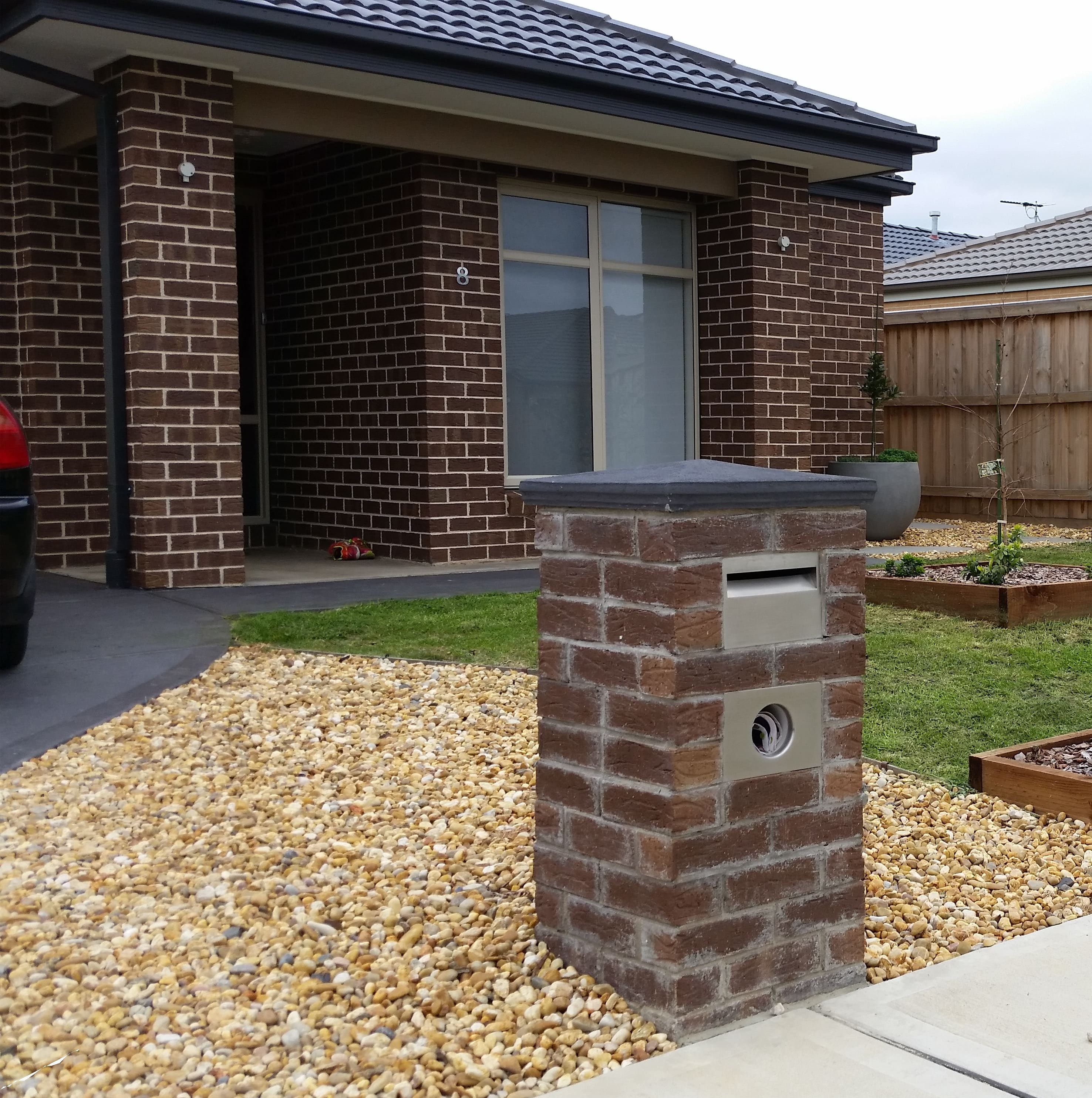 Garage Door Landscaping Ideas: Brick Mailbox, Mailbox Landscaping, Mailbox