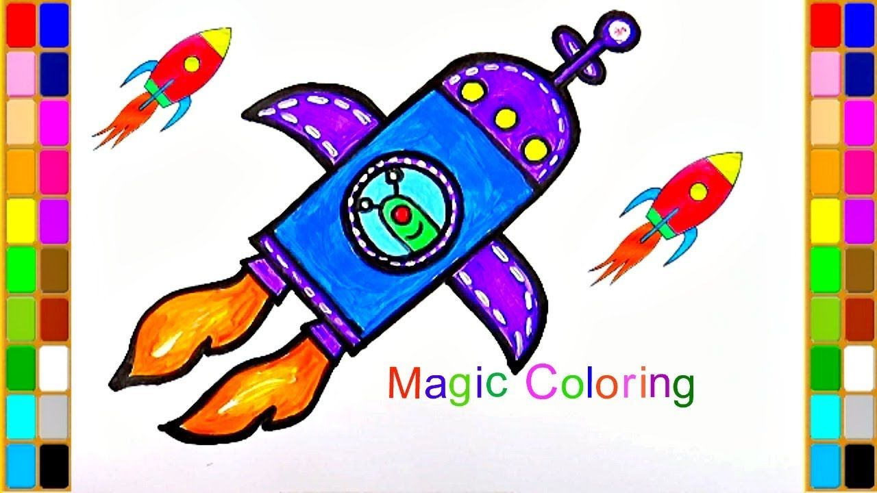 How to draw a spaceship for kids rocket coloring pages coloring
