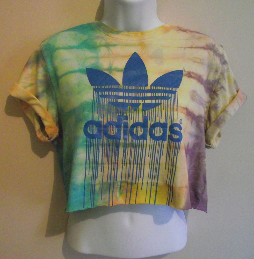 a8b6d00ebe94b VINTAGE ADIDAS Crop Top T Shirt Blouse 90s Tie Dye Acid Wash Huff ...