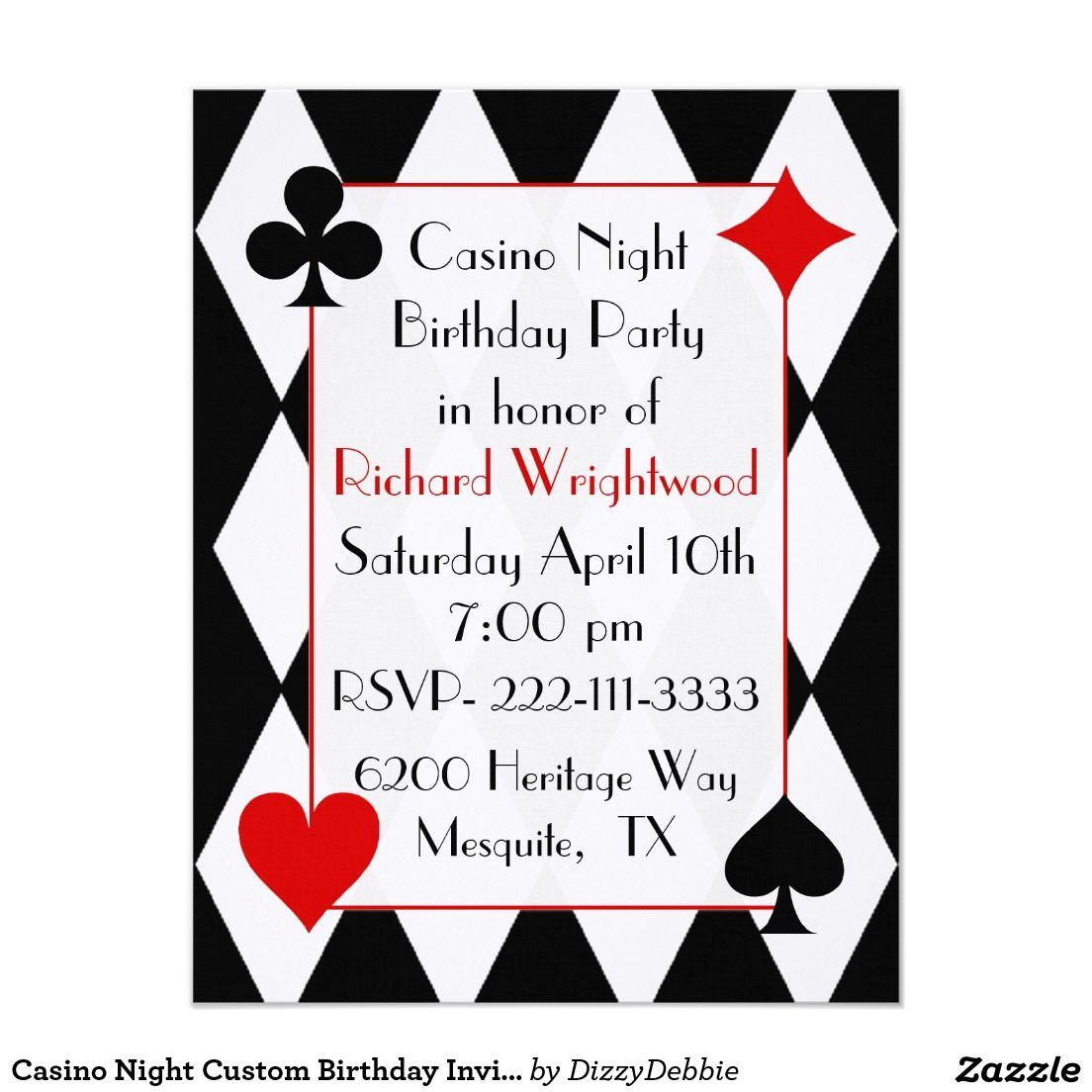 Casino Night Custom Birthday Invitation | Custom birthday ...