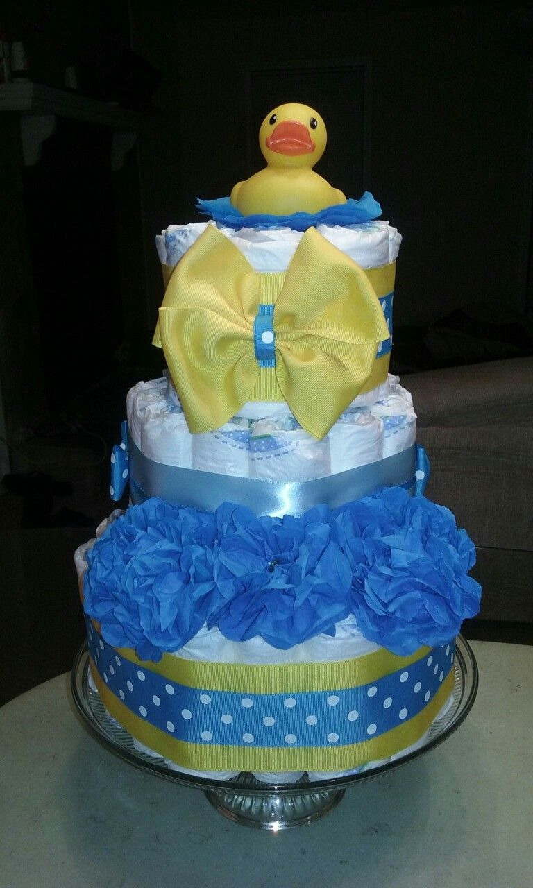 A simple diaper cake for a boy duck cake rubber ducky