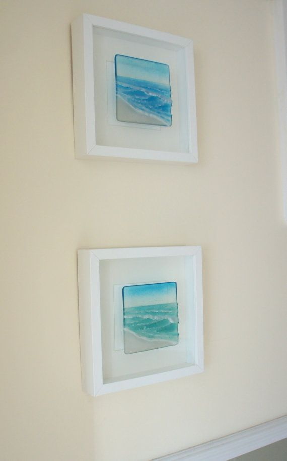 Wave in a Box-FREE UK SHIPPING-Turquoise/Blue Seaside Glass Framed ...