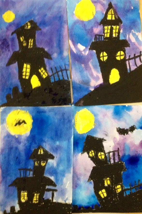 Art Teacher in LA | K-6th grade Art Lessons 5th grade spooky houses, Halloween art lesson, watercolor http://Www.ViridianArtAcademy.com