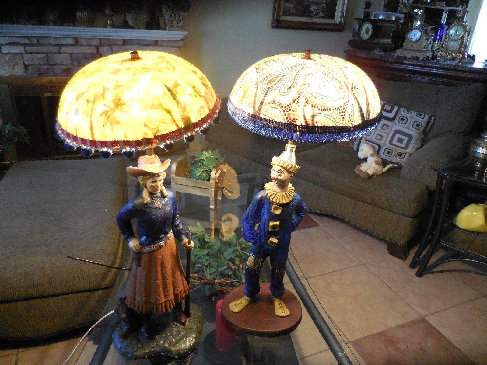 Two Vintage Chalkware Lamps Florentine Art Studio Lil Annie
