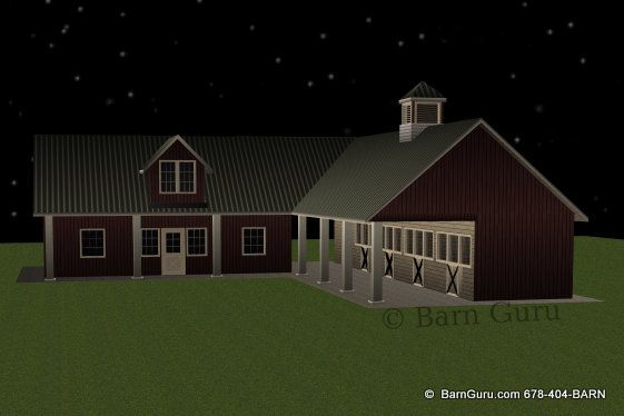 4 Stall Sder Row Horse Barn With Living Quarters Equine