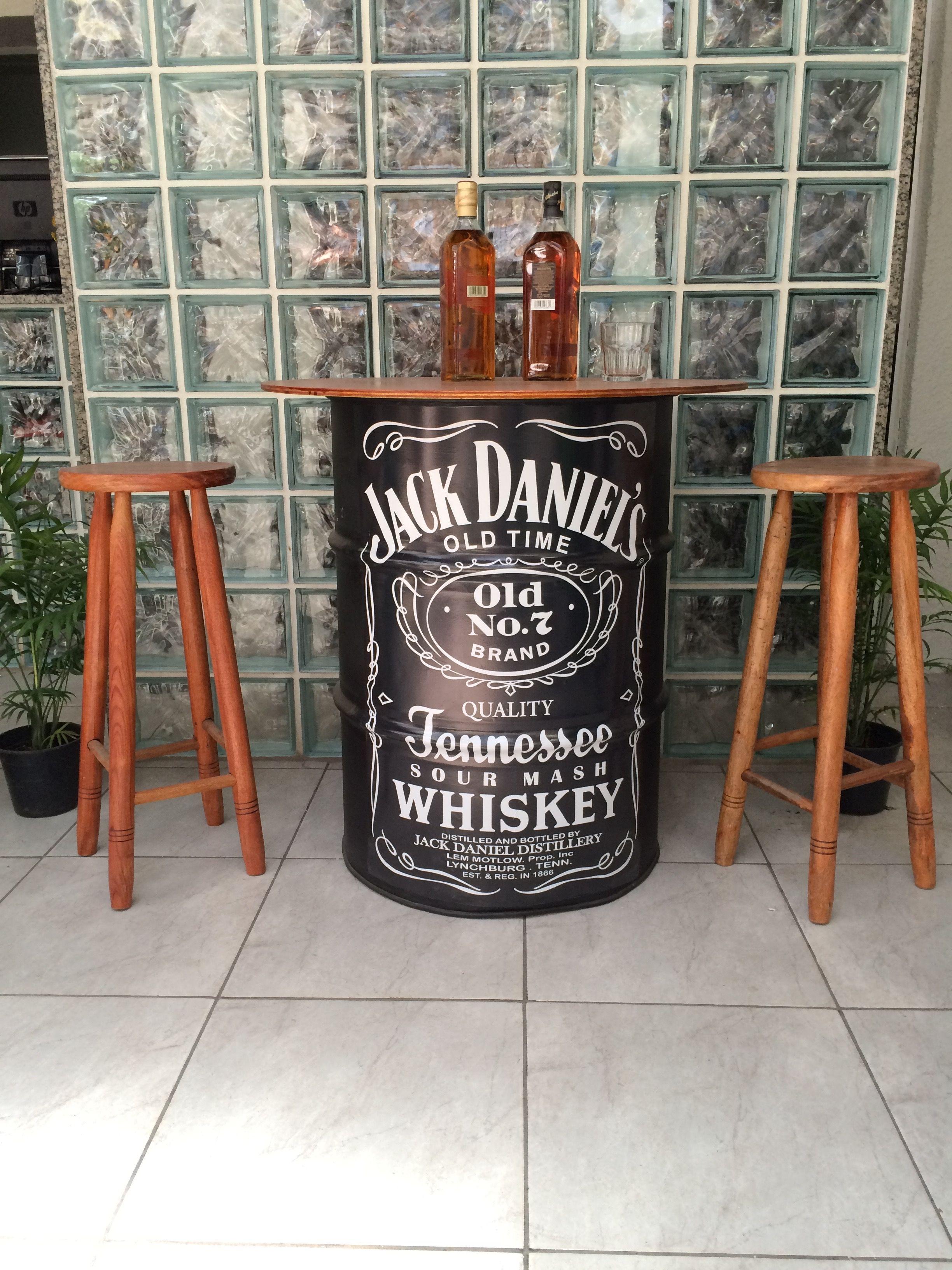 Decor Tambor De Aco Com Tampo De Madeira Jack Daniel S Oil