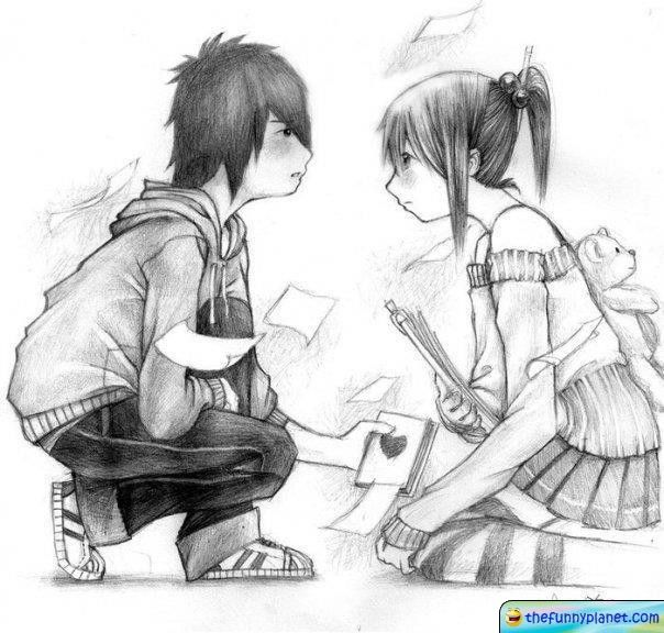 Best pencil sketch of a boy and a girl