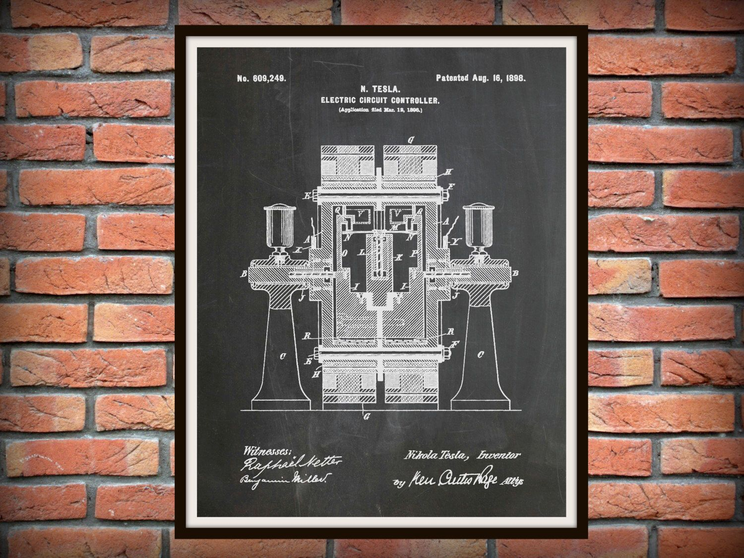Patent 1898 Tesla Electric Circuit Controller - Art Print - Poster - Science Lab - Electrical Engineer Wall Art - Electricity Art by BlueMoonPatentPrints on Etsy https://www.etsy.com/listing/258329269/patent-1898-tesla-electric-circuit