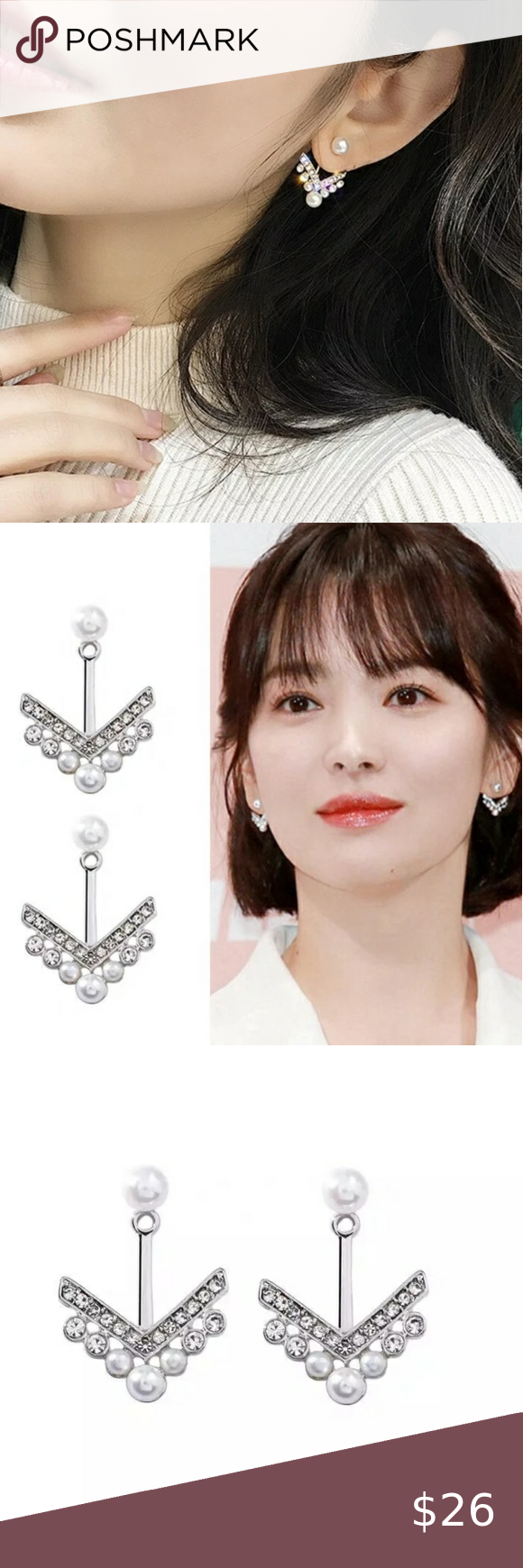 Double Sided Front Back Pearly Arrow Earrings Arrow Earrings Heart Earrings Studs Front Back Earrings