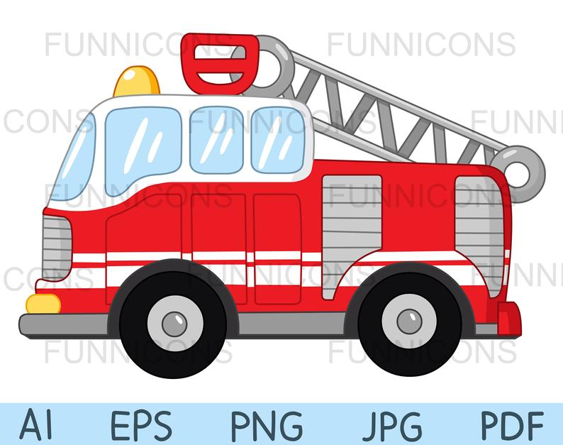 Clipart Of A Fire Truck Ai Eps Png Pdf And Jpg Files Included Digital Files Instant Download Fire Trucks Clip Art Cartoon Clip Art