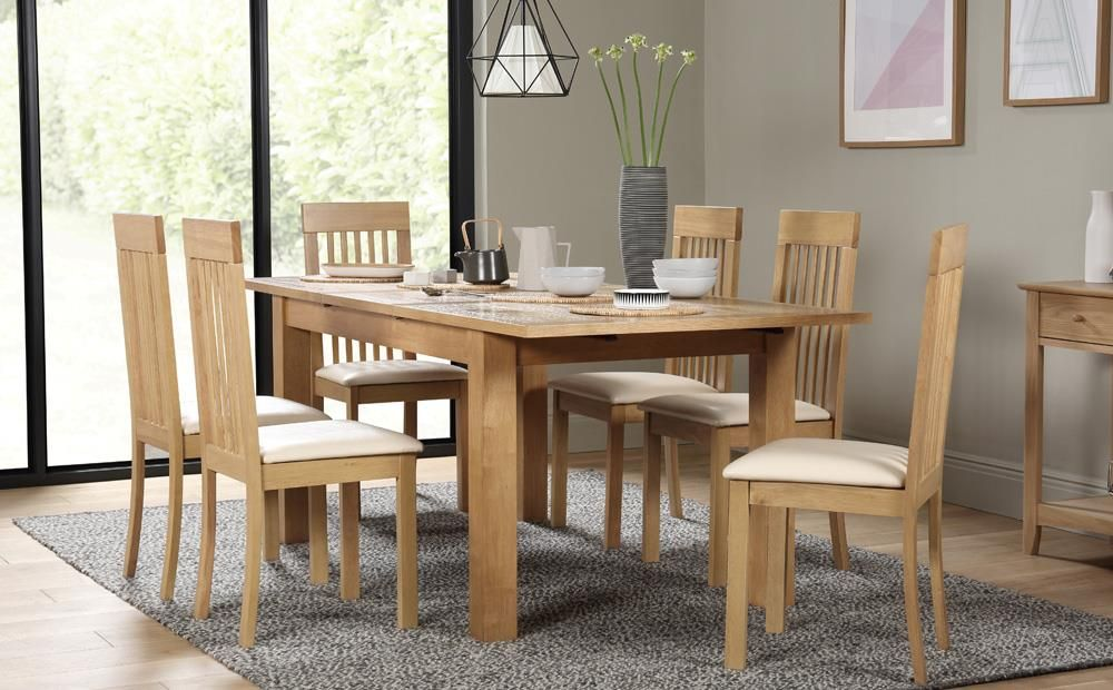Hamilton Oak 150 200cm Extending Dining Table With 6 Oxford