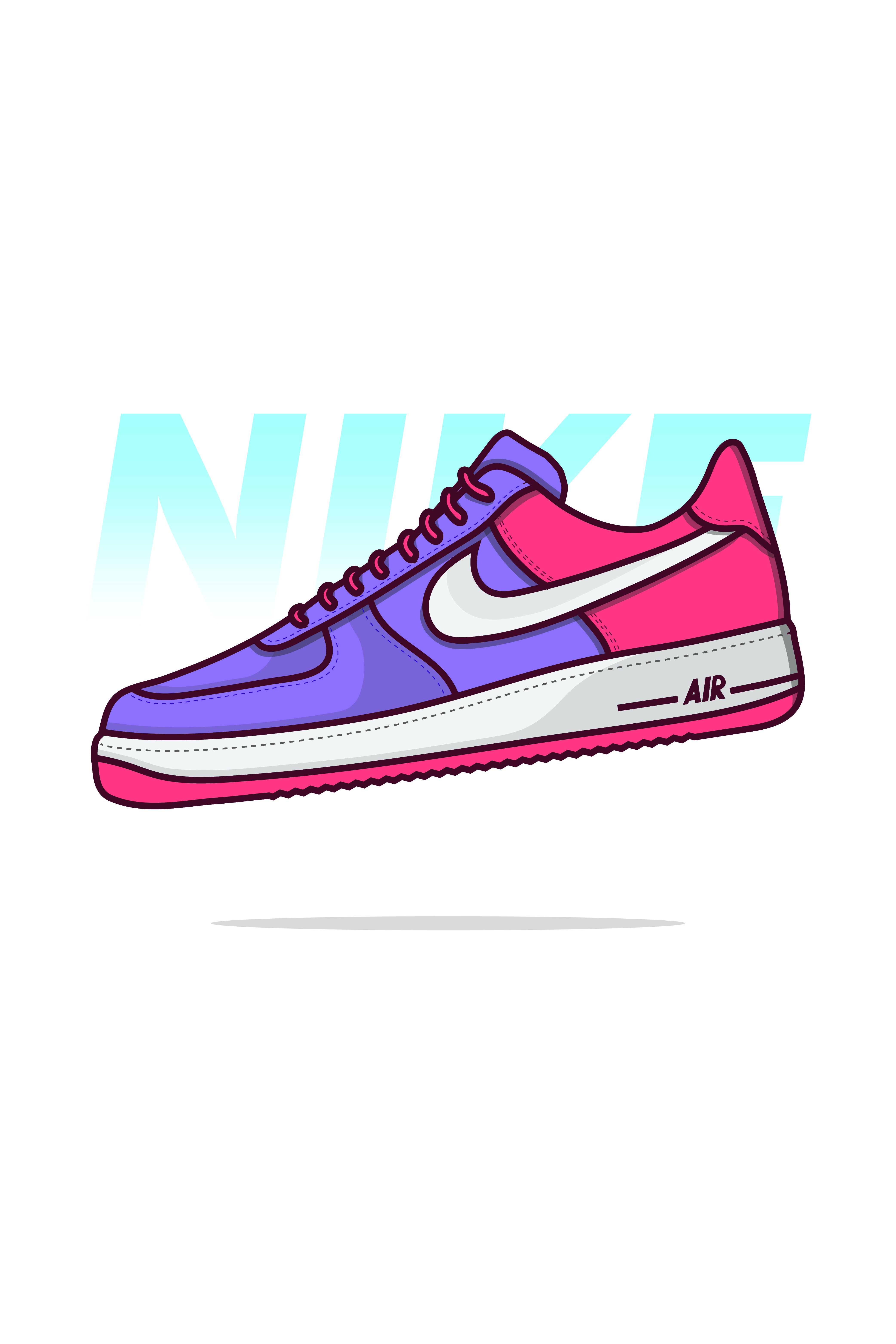 Nike Air Force 1😍😍 . Shoes Vector Design , Icon Design