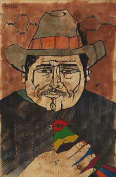 Autor Marco Augusto Quiroa Guatemala Hombre Con Pajaro Tecnica Mixta Papel Art American Art Painting