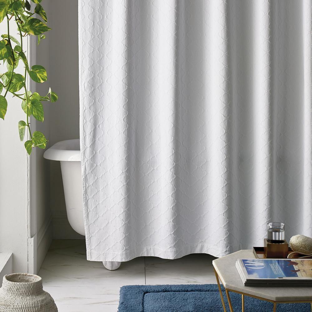 The Company Store Shoreline Matelasse 72 In White Cotton Shower