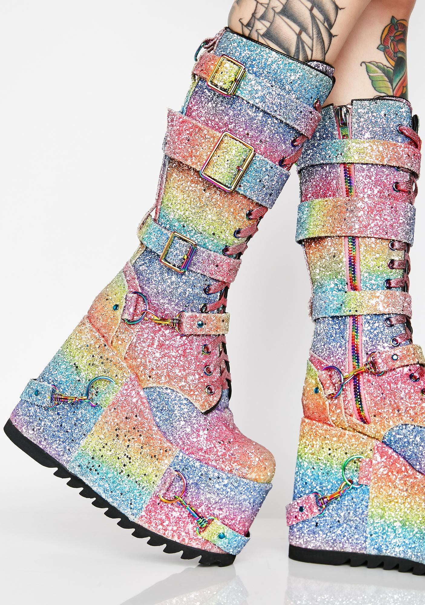 3823c135c4e Club Exx Sparkle Pony Platform Boots will have ya ridin  sky high on  magical bae bliss! Get to twerk in these glittery dream lace-up boots that  have rainbow ...