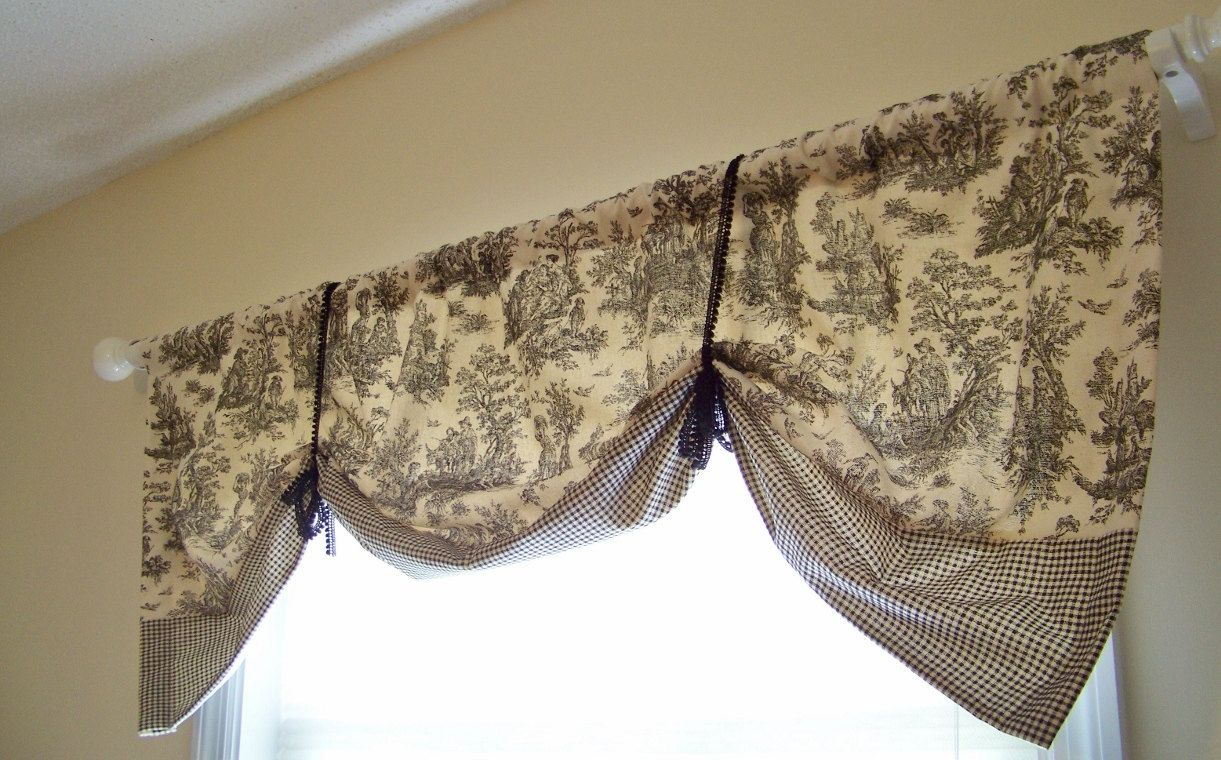 Window cover up ideas  black toile window valance banded hem tie up style black and natural