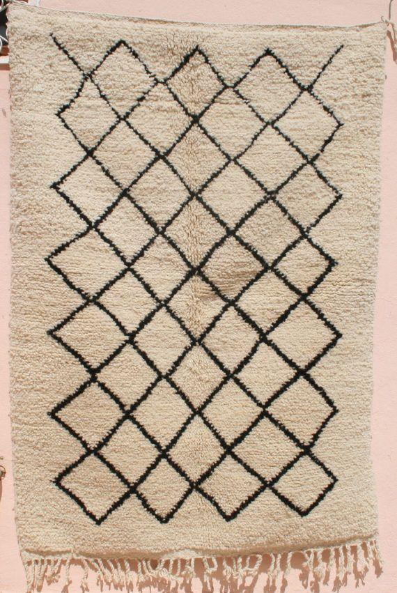 Small Beni Ourain Area Rug 3x5 Moroccan Berber Carpet Throw Black White Beige Natural Wool Tribal Diamond Trellis Geometric Lattice