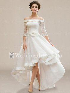 Ivory hi lo plus size wedding dress a line half sleeve off shoulder