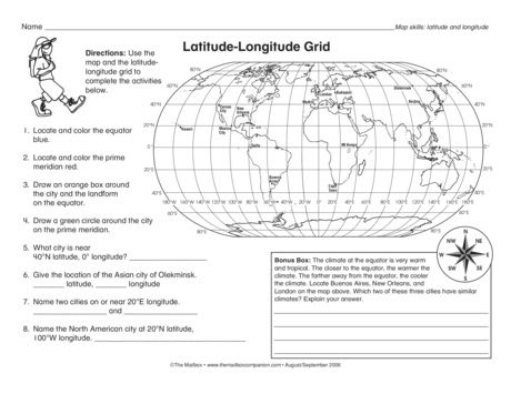 Latitude-Longitude Grid, Lesson Plans - The Mailbox ...