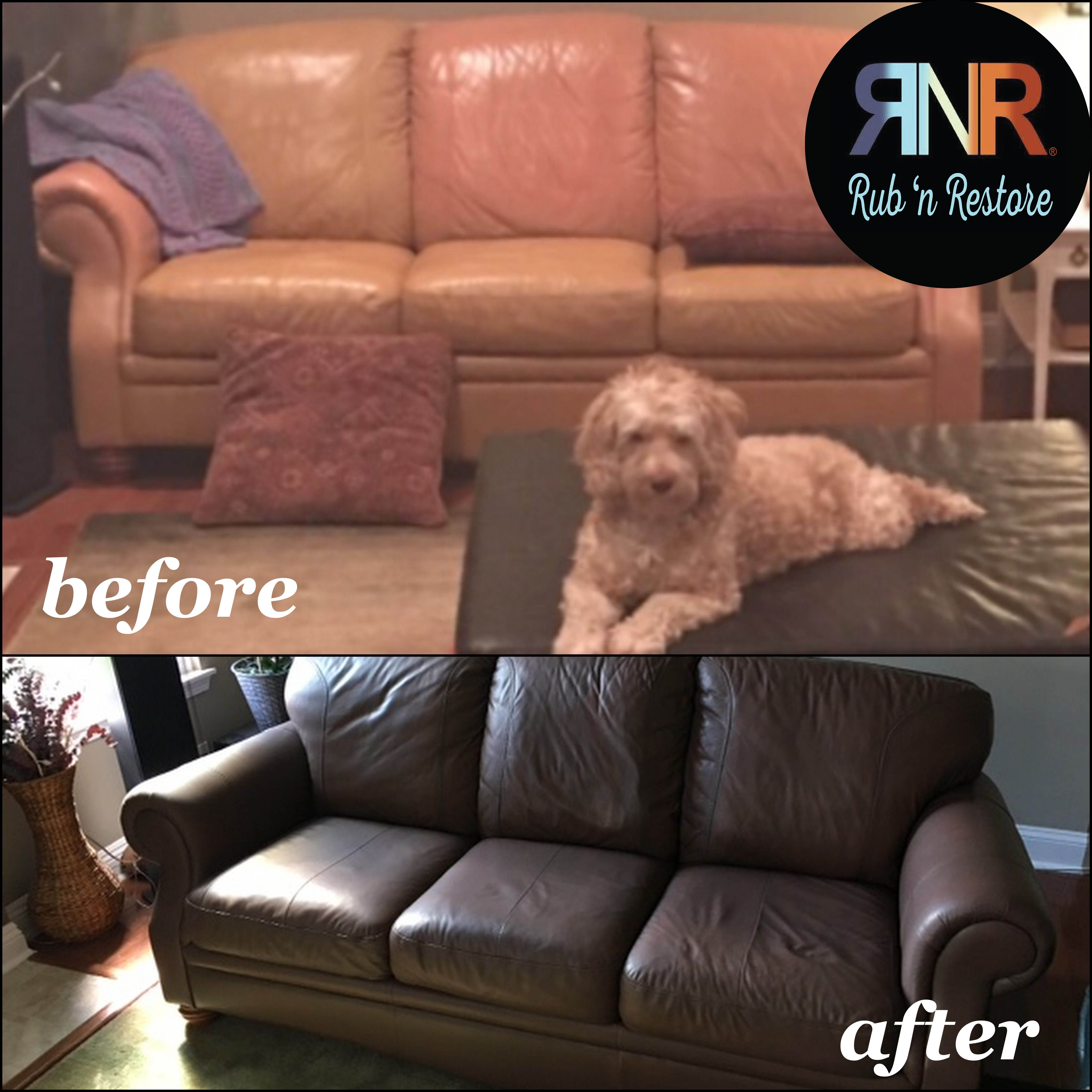 Cindy transformed her leather sofa in 2014 and recently emailed to