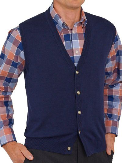 Pima Cotton Button Front Cardigan Sweater Vest from Paul Fredrick ...