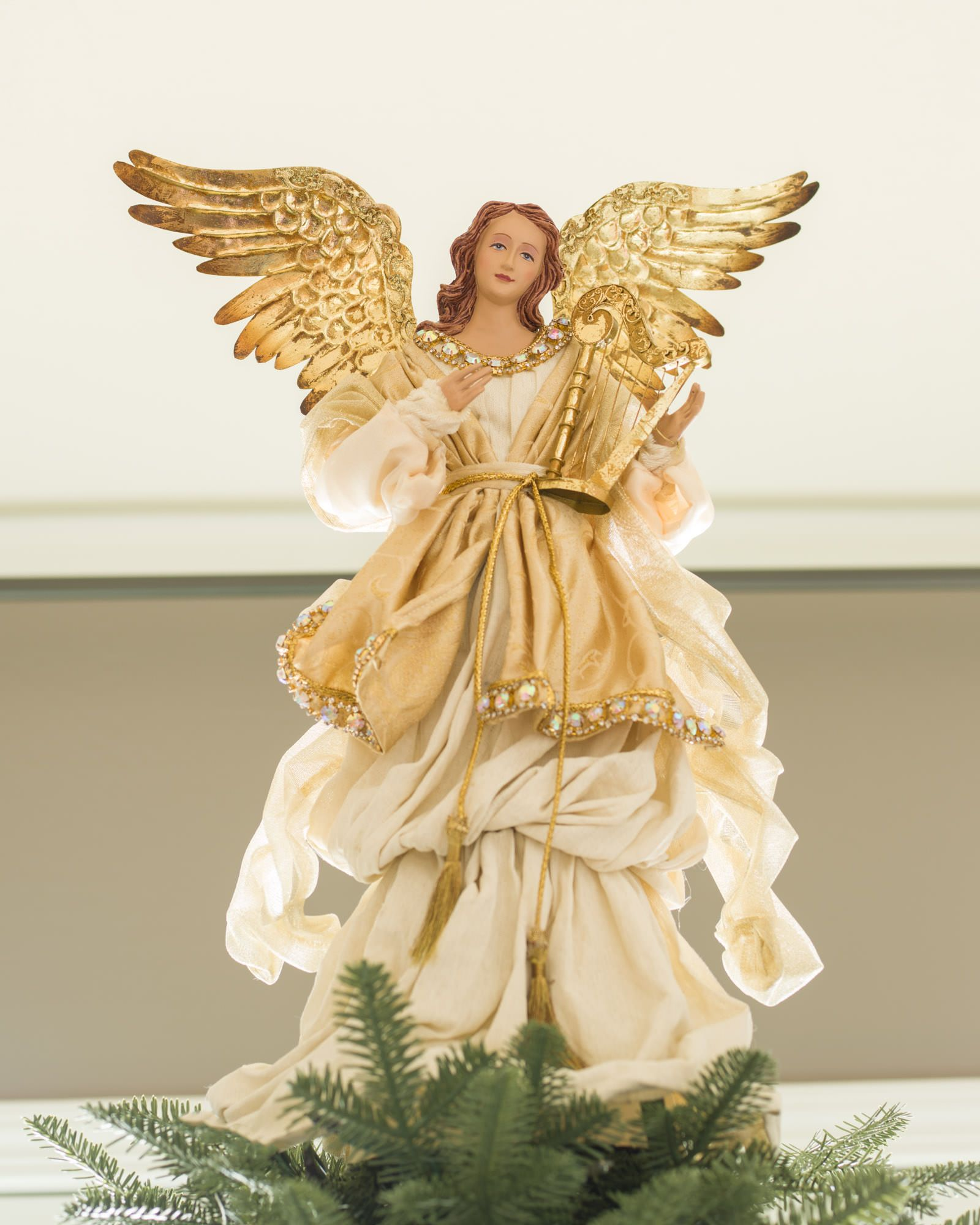 Gold angel tree topper balsam hill white christmas for Angel christmas tree decoration