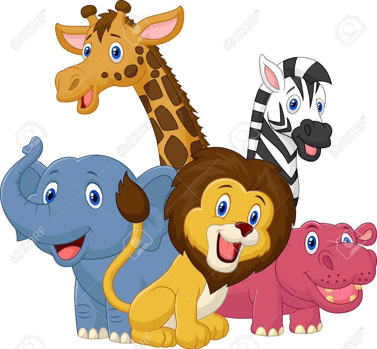 Stock Vector Cartoon jungle animals, Safari animals