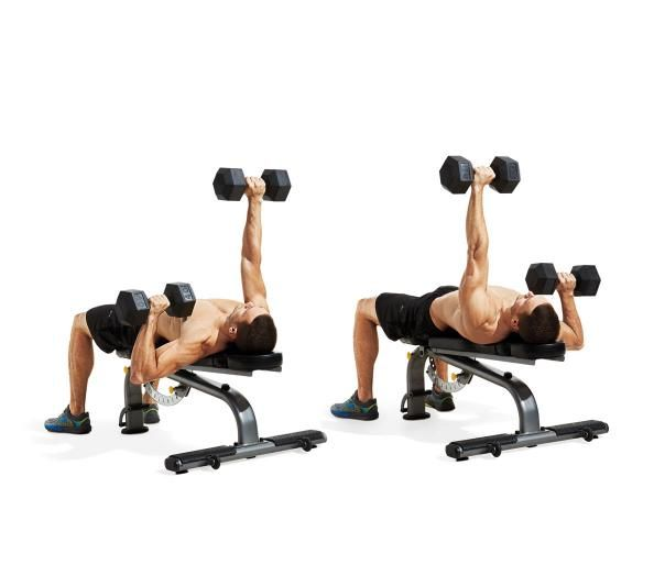 Chest Workout Bench Press Dumbbell Flyes And Presses: ALTERNATING DUMBBELL BENCH PRESS