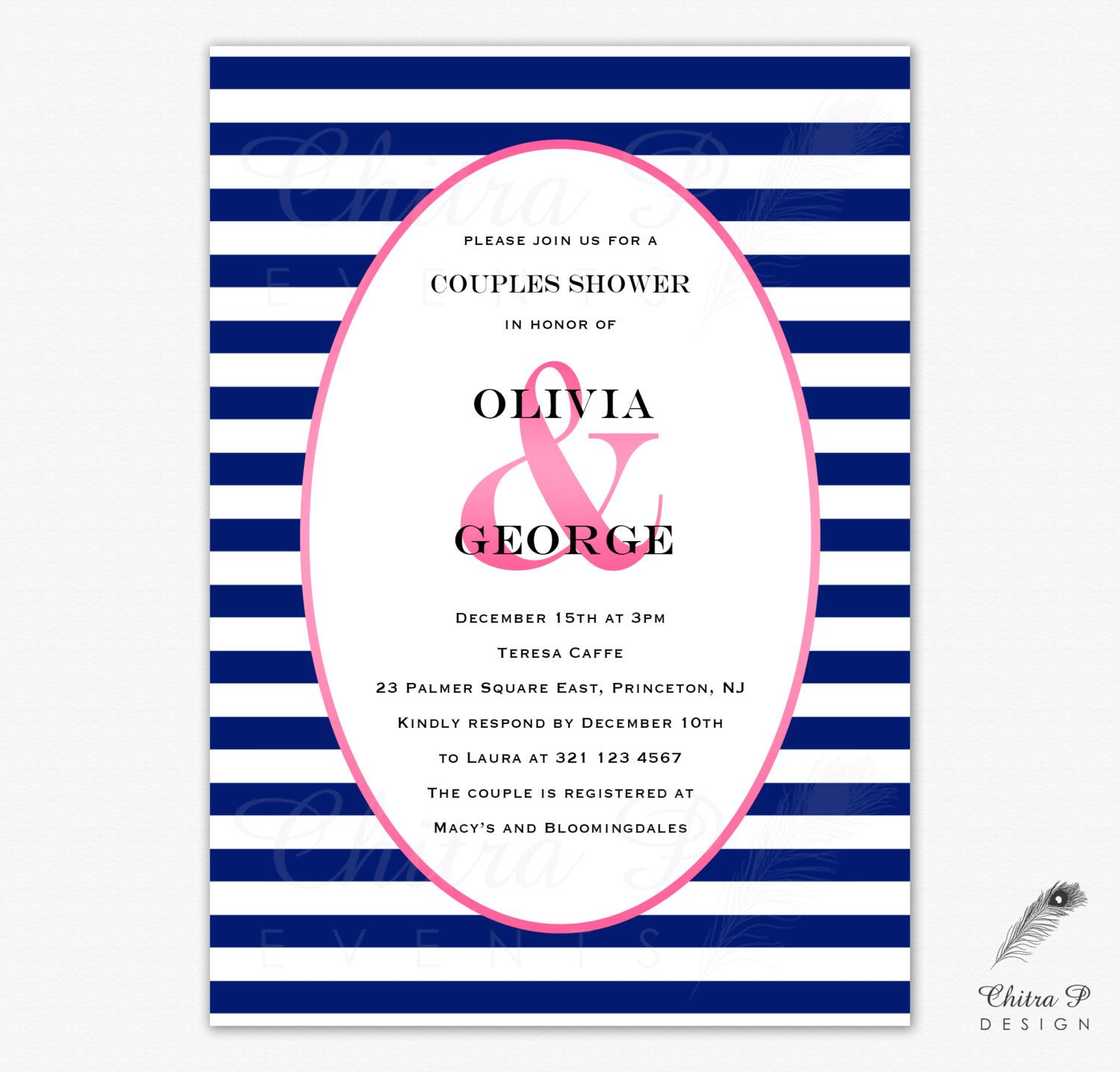 Pink & Navy Couples Shower Invitation - Printed or Printable, Wedding Stripe Ampersand Engagement Gender Neutral Blue Bridal Nautical - #057 by chitrap on Etsy https://www.etsy.com/listing/195304412/pink-navy-couples-shower-invitation