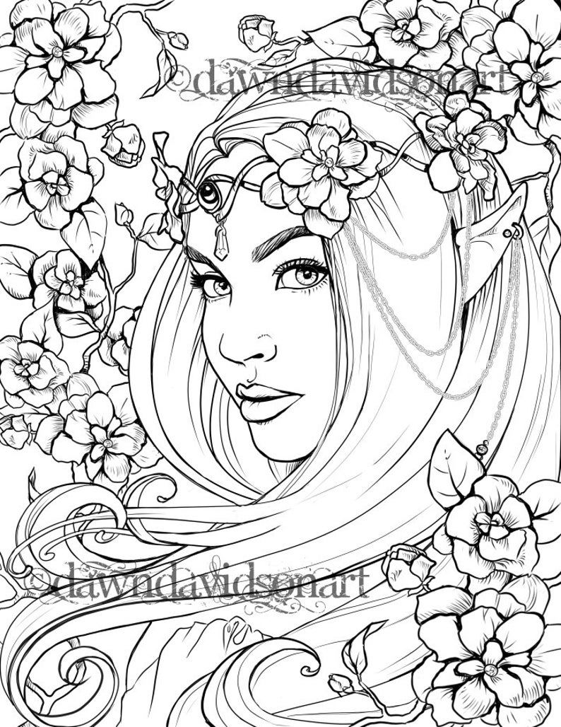 Freckles The Fairy Coloring Page Printable Colouring For Etsy In 2021 Fairy Coloring Pages Grayscale Coloring Fairy Coloring